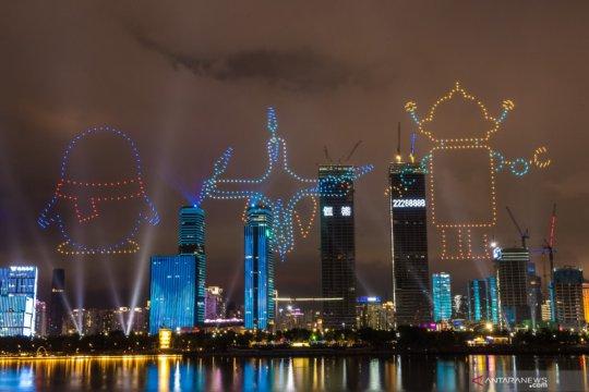 Pertunjukan cahaya menyambut peringatan pembentukan Zona Khusus Shenzhen