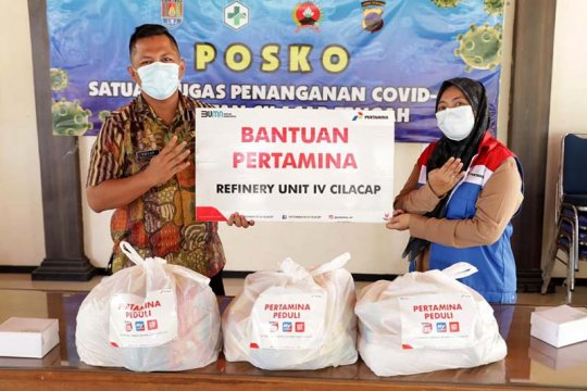 Pertamina Cilacap salurkan paket sembako bagi warga terkonfirmasi COVID-19