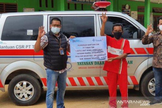 PT Timah serahkan ambulance tingkatkan pelayanan kesehatan warga Desa Air Gegas