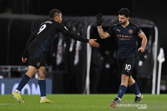 Sergio Aguero mencetak gol perdananya musim ini