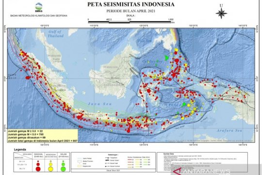 Gempa bumi dengan magnitudo 5,7 mengguncang Halmahera Barat