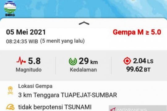 Gempa Mentawai tak berpotensi tsunami