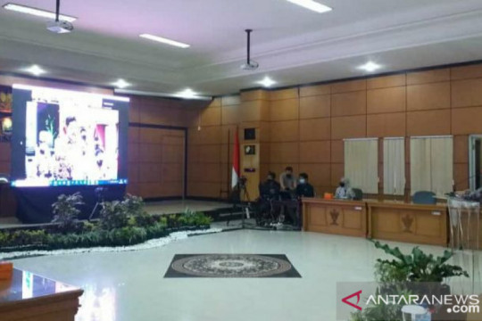Bupati Belitung sampaikan laporan penanganan COVID-19 kepada Kapolri dan Panglima TNI