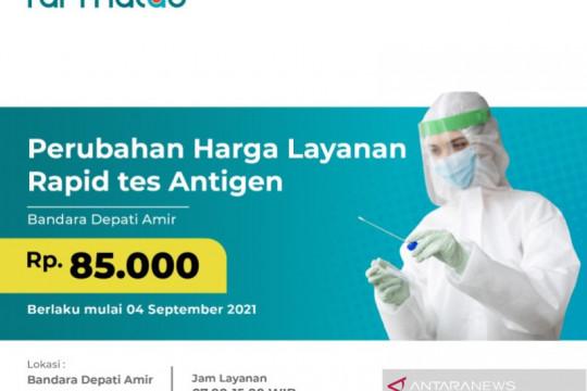 Tarif rapid test antigen skrining COVID-19 di Airport Health Center bandara AP II Turun jadi 85 ribu