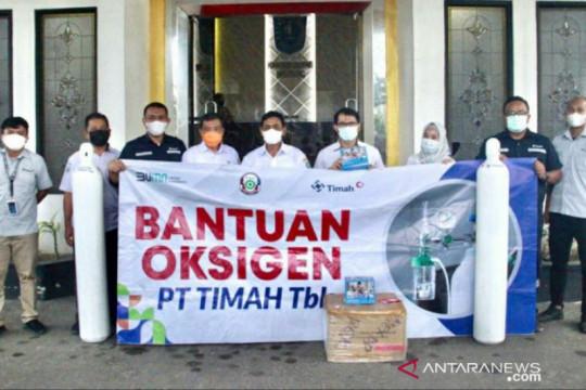 PT Timah serahkan 50 tabung oksigen bantu penanganan COVID-19 di Belitung