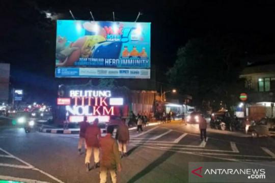 Tim Yustisi Belitung bubarkan kerumunan massa di pusat kota