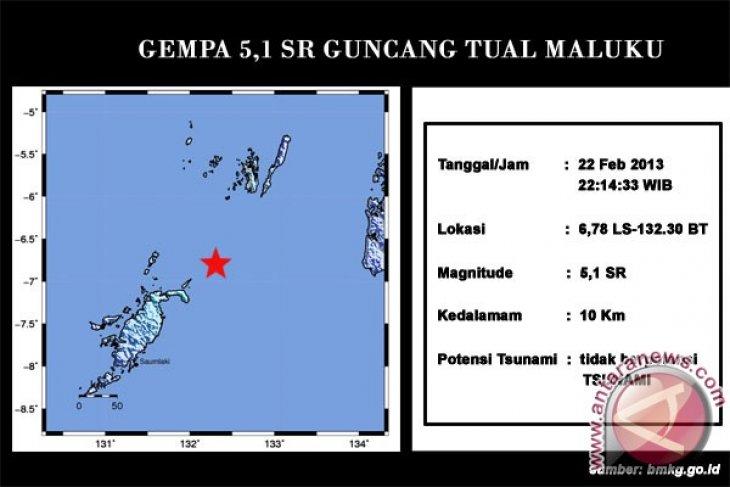 Gempa magnitudo 5 terjadi di  Tual-Maluku