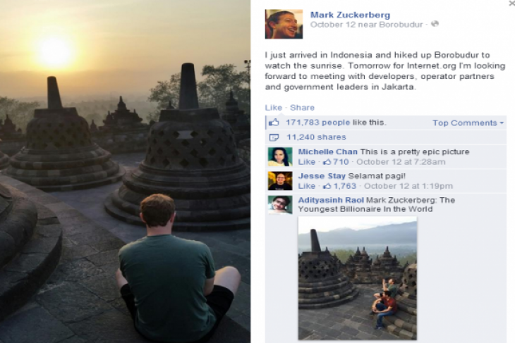 Zuckerberg offers Indonesia Internet connection in remote areas
