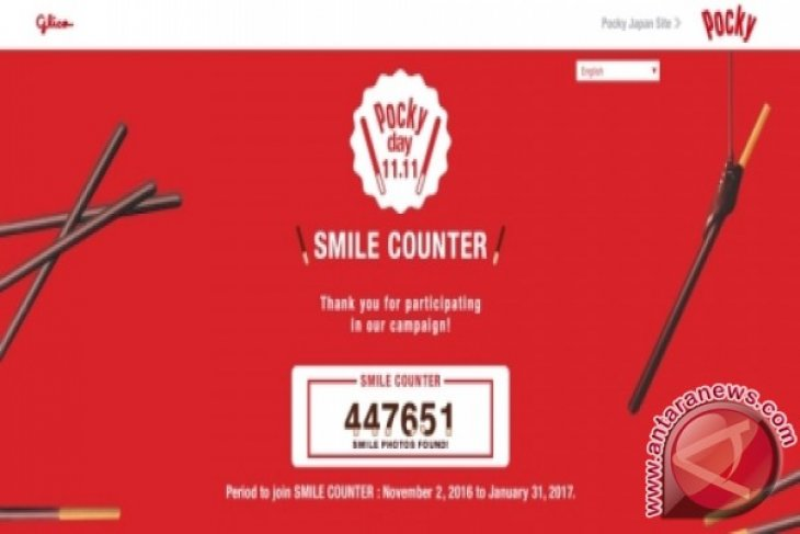 "Share happiness! Pocky announces the number of happiness shared on the first ever global Pocky day ""SMILE COUNTER campaign"""