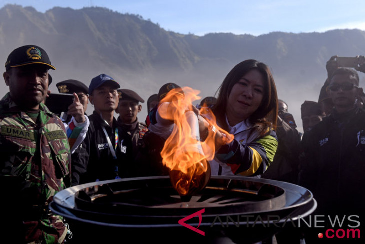 Asian Games torch relay proceeds to Mt Bromo