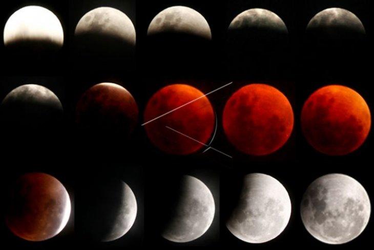 Sabtu dini hari terjadi gerhana bulan total selama 103 menit