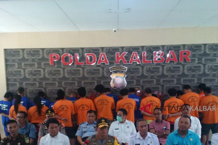 Sebanyak 23 tersangka kasus narkoba diamankan Polda-BNNP Kalbar
