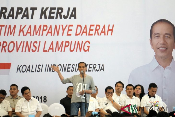 Jokowi attends working meeting of regional campaign team in Lampung