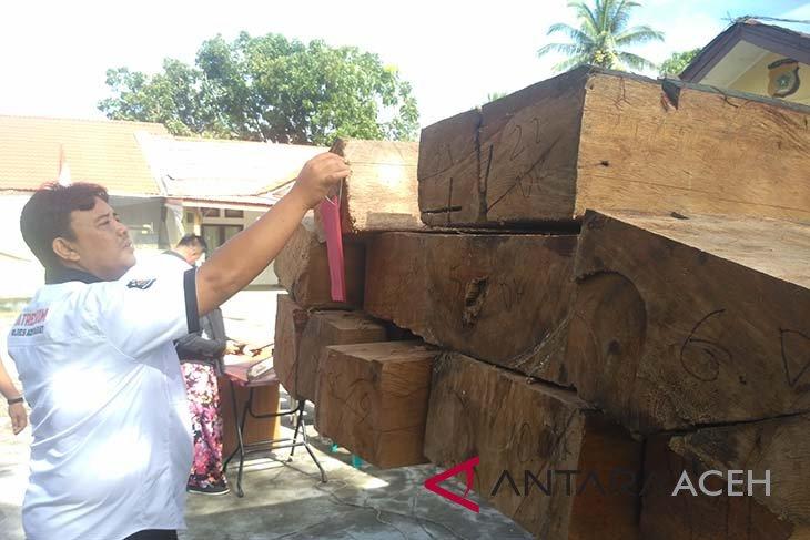 Polisi amankan delapan kubik kayu ilegal di Aceh Barat