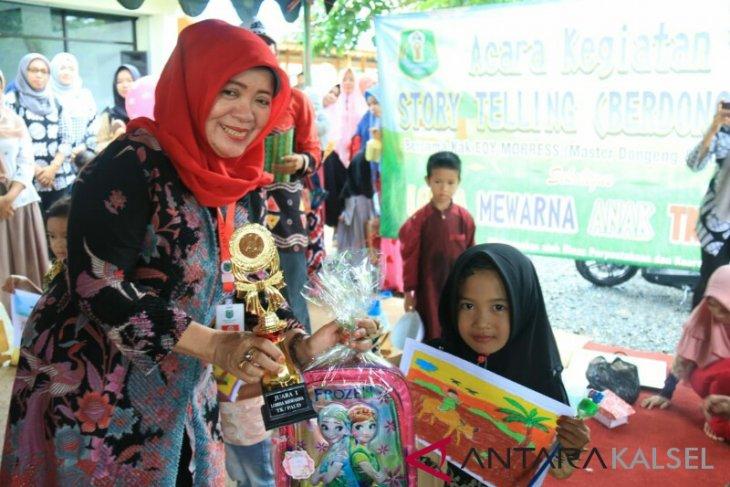 Perpustarda Isi Liburan Sekolah Dengan Lomba Mewarnai Antara News Kalimantan Selatan