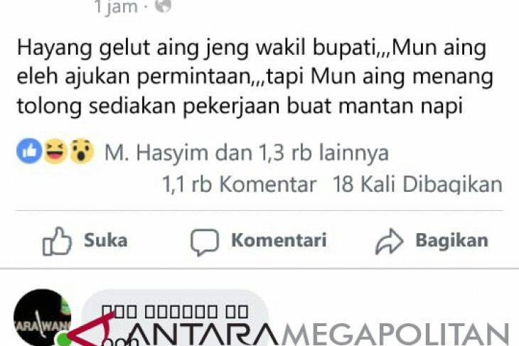 Wabup Karawang lapor polisi setelah ditantang berkelahi netizen