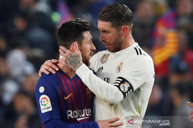 Ramos: Real Madrid bisa raih lebih banyak trofi bila Barcelona tanpa Messi