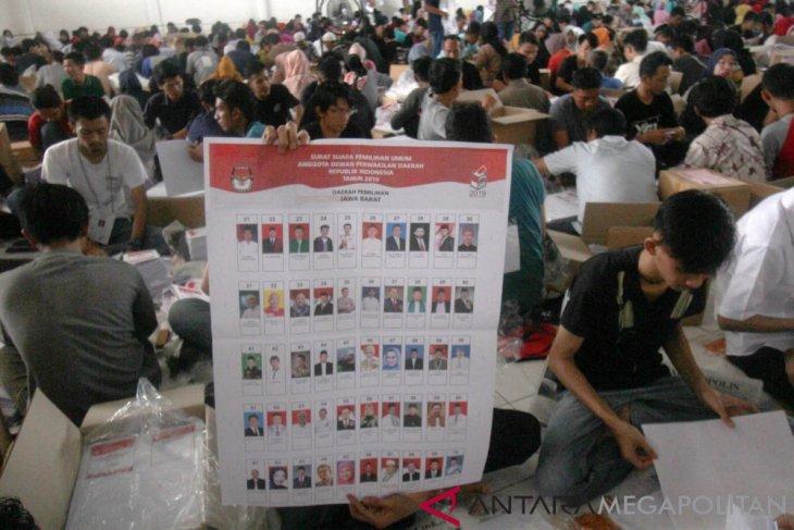 KPU Kabupaten Bogor mulai lipat surat suara DPD