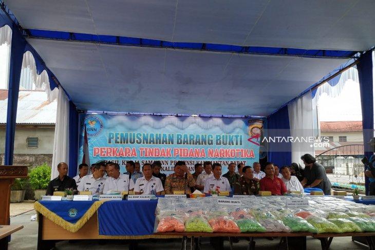BNNP Kalbar musnahkan 107 kilogram sabu dan ribuan ekstasi