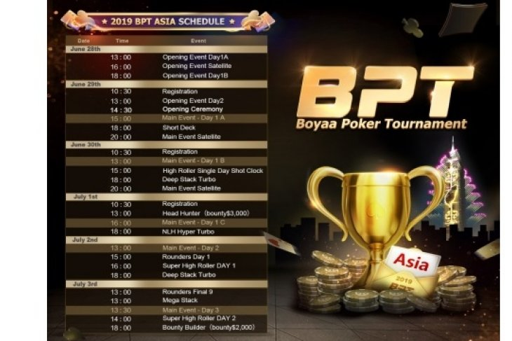 2019 Boyaa Poker Tournament Asia Schedule Announced