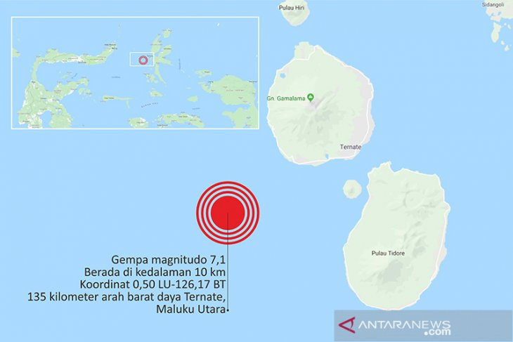 Gempa 7,2 SR guncang Timur Laut Maluku Utara