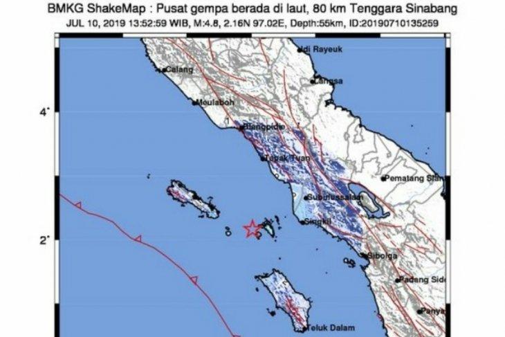 Gempa magnitudo 6,4 di Sinabang dirasakan sampai di Medan