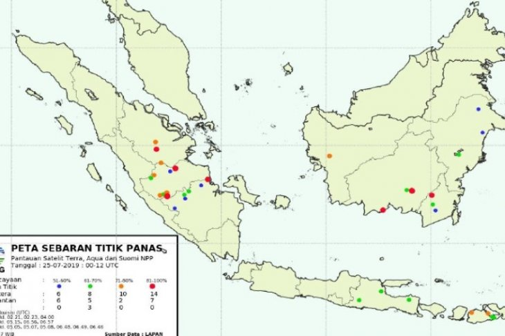 BMKG : Kamis (25/7), 24 titik panas terpantau di Jambi