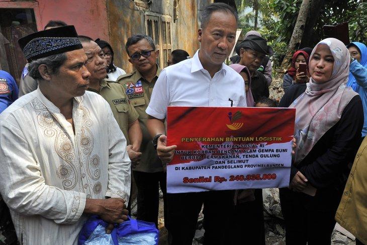 Mensos bantu ahli waris korban gempa Pandeglang