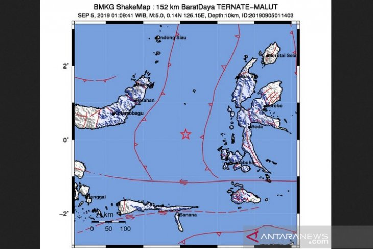 5.0-magnitude quake jolts southwest of Ternate