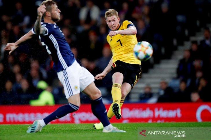 De Bruyne sempurna, Belgia hajar Skotlandia 4-0