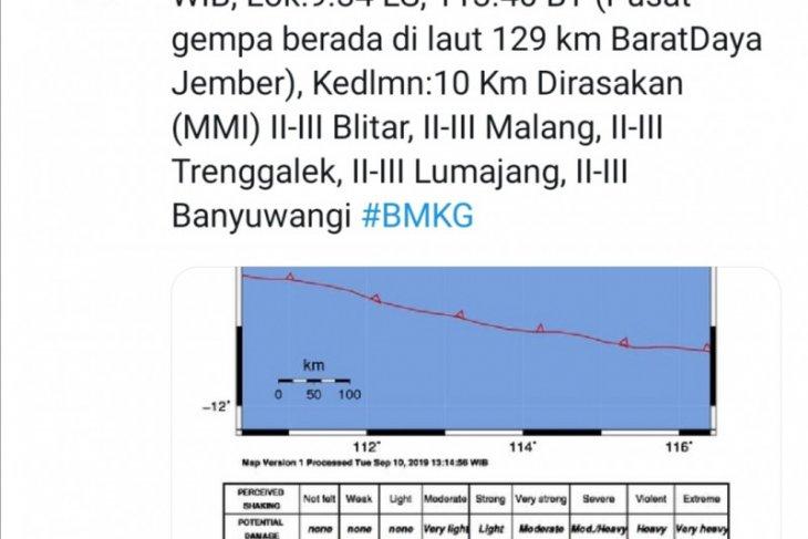 Gempa berkekuatan 4,8 SR guncang wilayah Jember