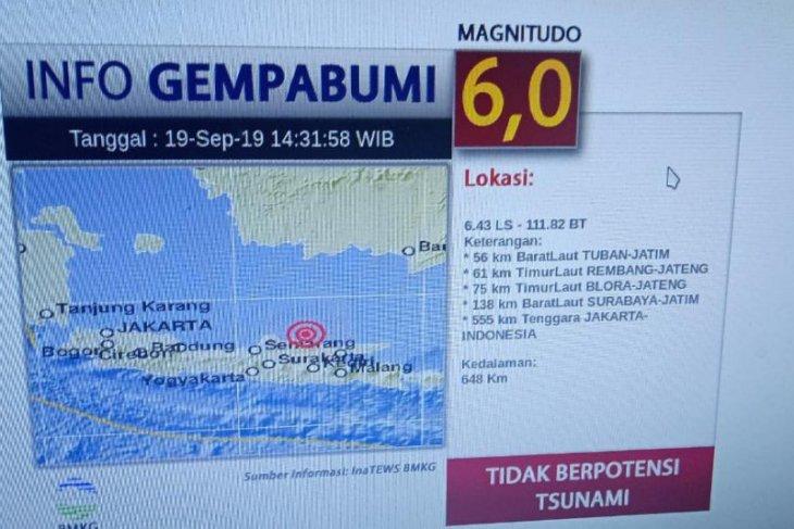 Gempa magnitudo 6 SR guncang Jatim dirasakan hingga Yogyakarta