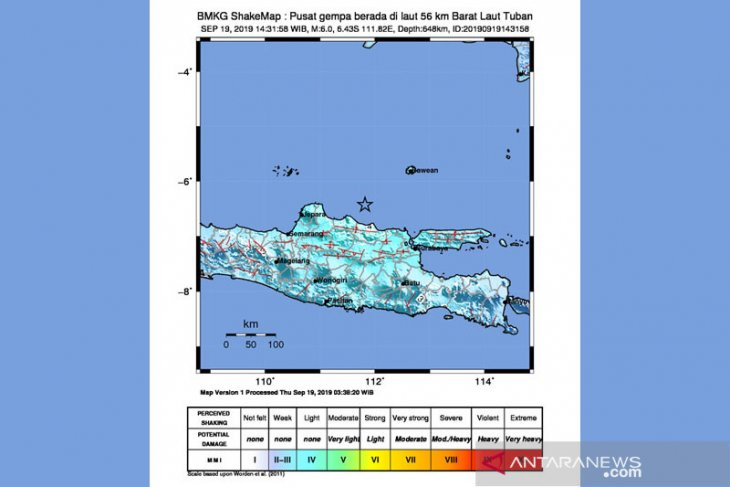 Quakes felt in East Java's 10 districts, cities