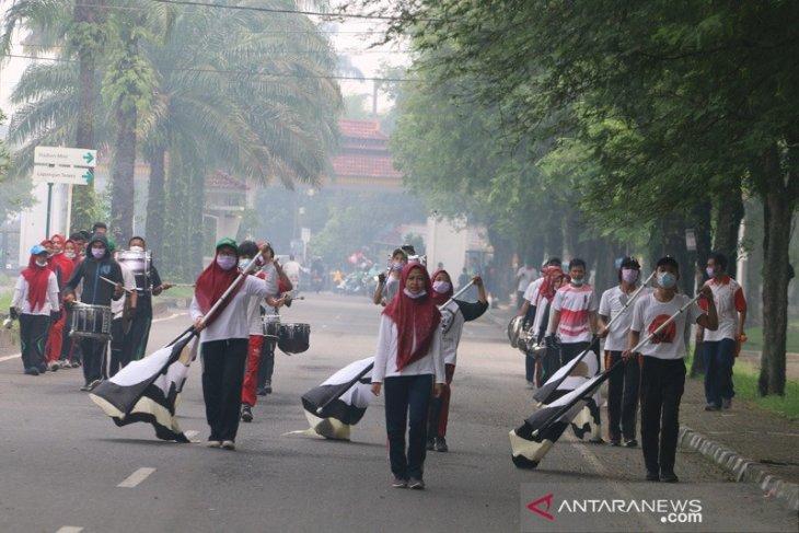 Sudah tiga hari mahasiswa USU kenakan masker saat latihan