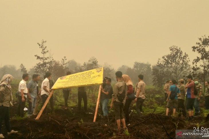 Penyidik Polres Batanghari lakukan penghitungan lahan PT Reki yang terbakar