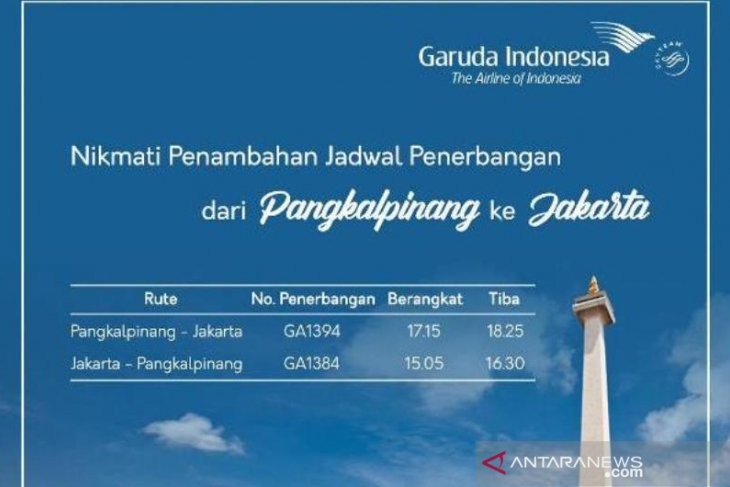 Garuda tambah penerbangan rute Jakarta-Pangkalpinang selama 10 hari