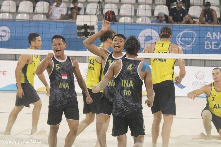 Tim voli pantai Indonesia melaju ke semifinal usai mengalahkan Australia