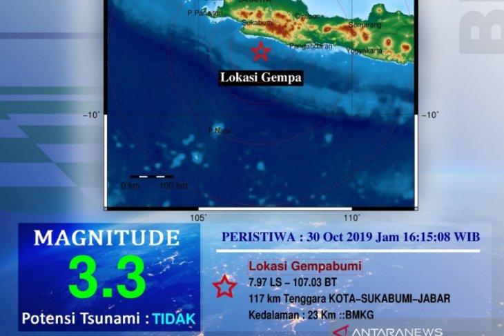 Gempa 3,3 SR di Sukabumi belum ada laporan kerusakan