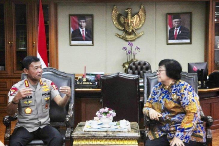 Kapolri Idham Azis temui Menteri LHK bahas pembalakan liar dan karhutla