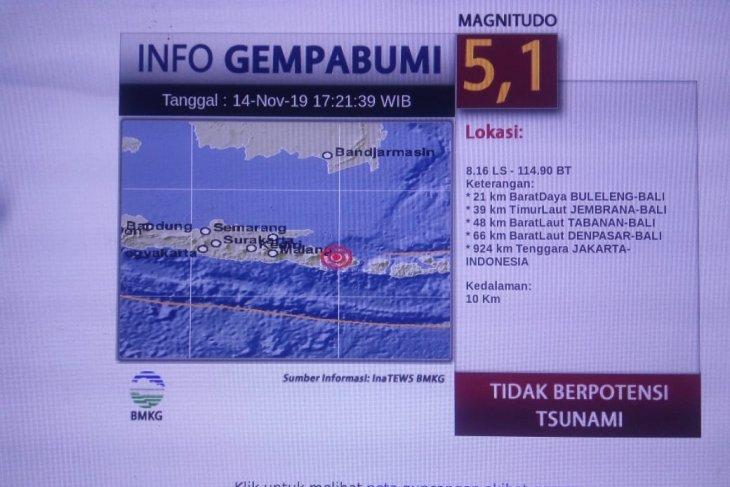 Sebagian warga Jember rasakan getaran gempa Bali