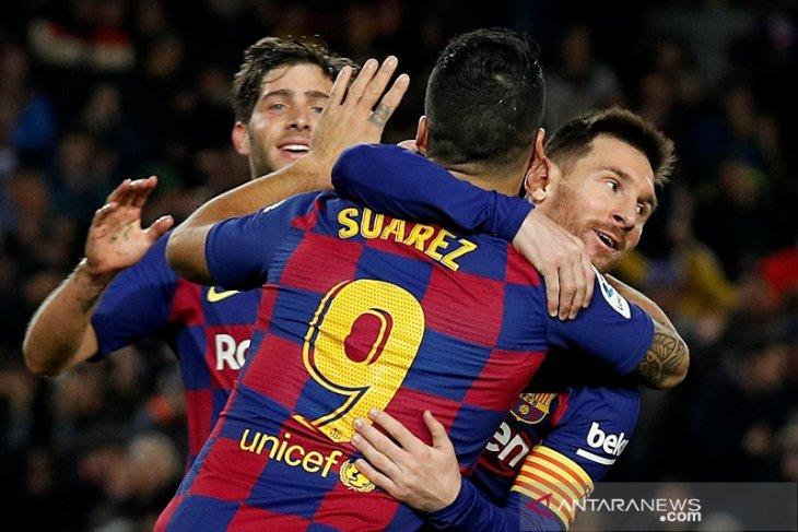 Messi rayakan Ballon d'Or dengan trigol ke gawang Mallorca