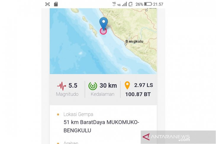 Earthquake rocks waters of Mukomuko, Bengkulu