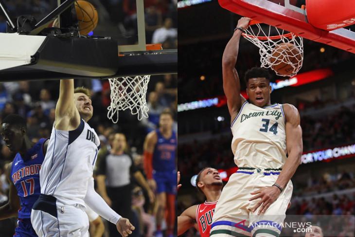 Doncic, Antetokounmpo pimpin jajak pendapat NBA All-Star