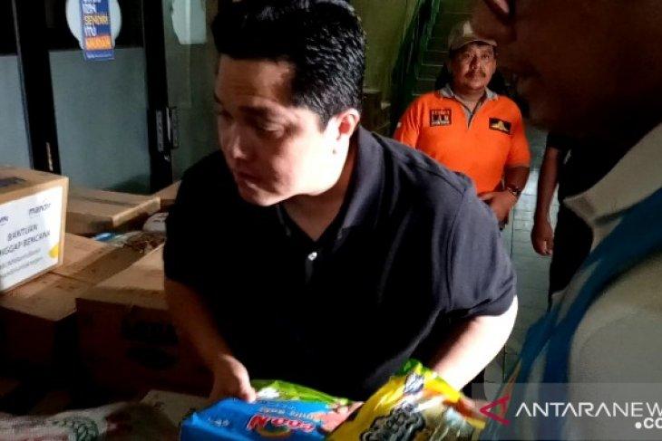 Terkait bantuan banjir, Menteri BUMN terus berkolaborasi dengan BNPB