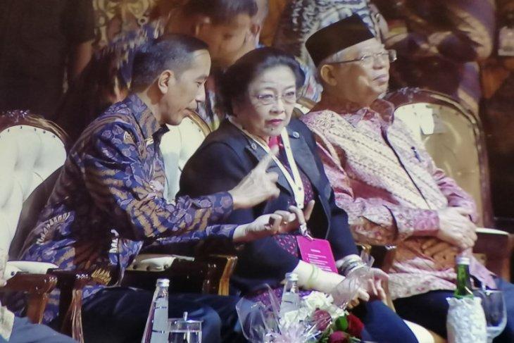 Presiden dan Wapres hadiri Rakernas PDI Perjuangan di Kemayoran