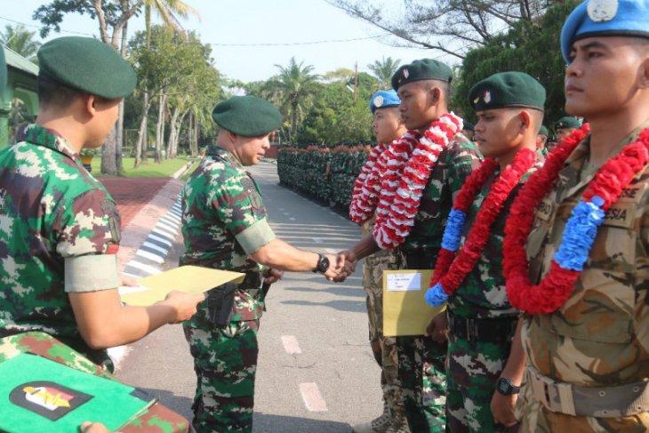 Batalion Infantri Raider 100/PS sambut  anggota Satgas Kontingen Garuda