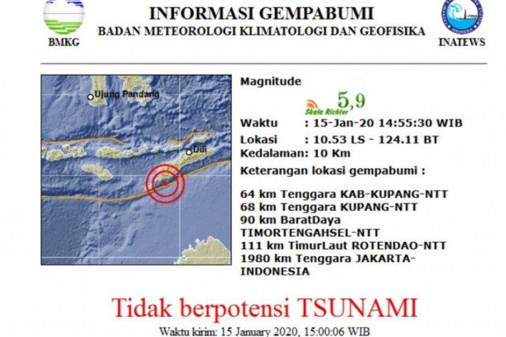Gempa magnitudo 5.9 guncang Kupang-NTT