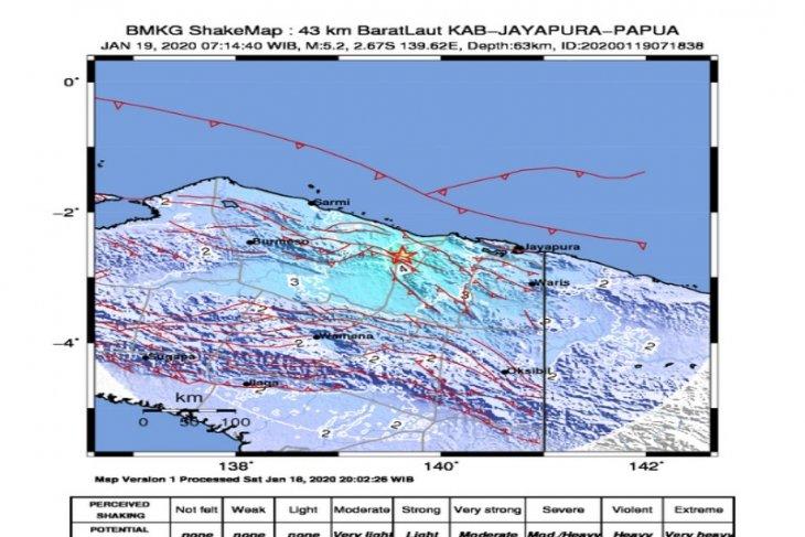 Kabupaten Jayapura kembali diguncang gempa magnitudo 5,2