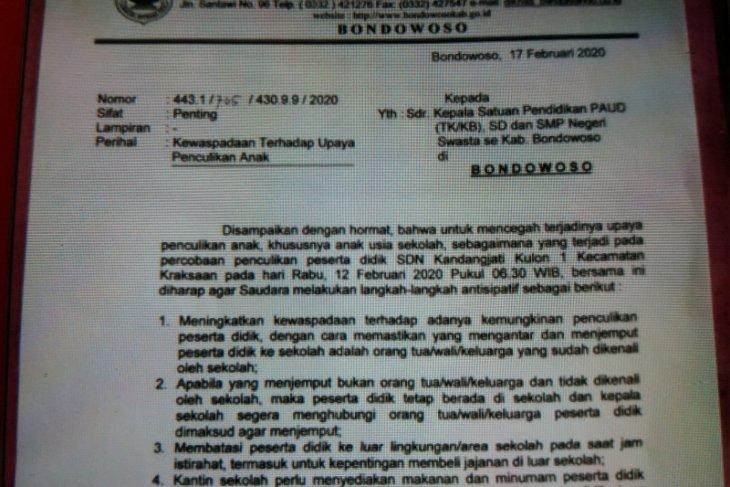 Dinas Pendidikan Bondowoso keluarkan surat edaran waspada penculikan anak