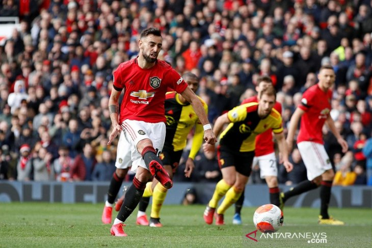 Bruno Fernandes cetak gol perdana bantu MU  lumat Watford 3-0
